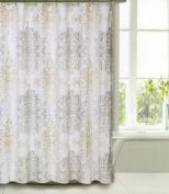 Shower Curtain Fabric Tahari Home Luxurious Milan Scroll Medallion Design Taupe, Beige on White 72 X 72