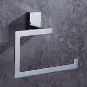 AUSWIND Contemporary Brass Square Base Towel Ring,Chrome Finished Bathroom Hardware K4