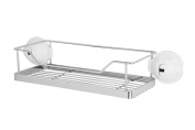 FECA FE-K1004 No Drilling Mountable Stainless Steel Rack with Powerful White Suction Cup for Bathroom Kitchen Shelf,