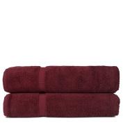 Chakir Turkish Linens Turkish Cotton Luxury Hotel & Spa Bath Towel, Bath Sheet - Set of 2, Cranberry