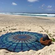 Indian Mandala Roundie Round Beach Towel Throw Tapestry Hippy Hippie Gypsy Cotton Tablecloth Beach Towel , Round Yoga Mat