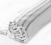 Hand Loomed Pestemal Striped Turkish Bath Towel 37x70 %100 CottonTM by Cacala White - Grey