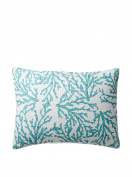Cora Blue Pillow Sham Coral Design on One Side and Starfish and Shells on the Reverse