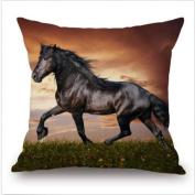 Horse Pillow Case Cushion Cover Cotton Linen Sofa Waist Pillowcase Home Decor