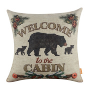 LINKWELL 46cm x 46cm Man Cave Decoration Welcome to the Cabin Cushion Covers Pillow Case