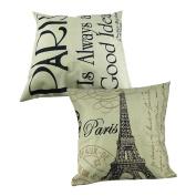 Yueton 2Pcs 18*46cm Paris Eiffel Tower Stamp Letter Home Decorative Cotton Linen Square Pillow Case Sofa Waist Back Throw Cushion Cover
