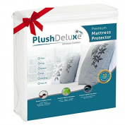Twin Premium 100% Waterproof Mattress Protector Hypoallergenic, Vinyl Free, Breathable Soft Cotton Terry Surface - 10 Year Warranty From PlushDeluxe