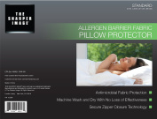 The Sharper Image Allergen Barrier Pillow Protector - Standard Size - Hypoallergenic - Premium Zippered Closure Antimicrobial Cotton & Polyester Washable Cover - Lifetime Warranty