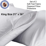 Set of 2 Deluxe Zippered Fabric Pillow Covers Protectors Protects Against Bed Bugs & Dust Mites King Size
