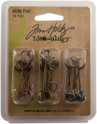 Metal Memo Pins by Tim Holtz Idea-ology, Pack of 30, 3.8cm , Antique Finishes, TH92833