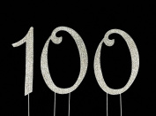 Large 100th Birthday Cake Topper with Sparkling Rhinestone Crystals - 4 1/2