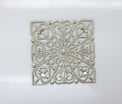 50 Pcs Embellishment Metal Crafts Round Scrapbooking Square Silver Tone Heart Pattern Hollow Filigree Connectors Hollow Art Craft Stamping Lace 4x4cm