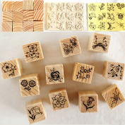 Rely2016 12Pcs Wooden Box Case Vintage Flower Lace Floral Rubber Stamp Set for Diary Cards Craft Scrapbooking DIY