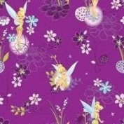 """Disney """"Tinerbell on Spot"""" Tinkerbell on Violet background 100% Cotton Fabric (Great for Quilting, Sewing, Craft Projects, Quilts, Throw Pillows & More) 1/2 Yard X 110cm Wide"""