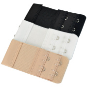 Bra Extender - Pistha 3 PCS Elastic Lingerie Extenders 2-Hooks 2 Rows Extension Strap in Three Different Colours (Black, White and Nude) ¡