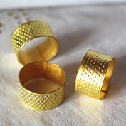 Ioffersuper 10x Gold Adjustable Size Ring Stitch Finger Thimble Sewing DIY Craft Tools