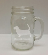 Basset Hound Breed Pride 470ml Glass Mason Jar - Hand Etched - Made in the USA, Great for gifts