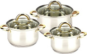 New Uniware Stainless Steel Cookware Set With Gold Plated Handle