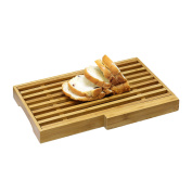 FURINNO Dapur Bamboo Bread Board with Crumb Catcher and Knife Block, Natural