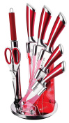Imperial Collection Premium Stainless Steel Kitchen Knife Set With with Rotating Block Stand, Red Wine - 8 Piece set