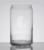 Cat Dad Cat Lover Love 470ml Can Glass - Hand Etched - Made in the USA, Great for gifts