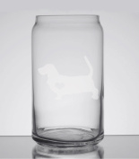 Basset Hound Love 470ml Can Glass - Hand Etched - Made in the USA, Great for gifts