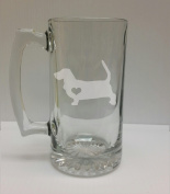 Basset Hound Love 710ml Glass Stein - Hand Etched - Made in the USA, Great for gifts