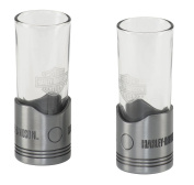 Harley-Davidson Piston Shot Glass Set, Two Hand Blown 60ml Glasses HDL-18770