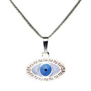 14k Yellow Gold Enamel Evil Eye Pendant Necklace 41cm 46cm Chain Signs & Symbols