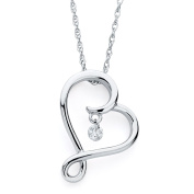 Brilliance in Motion Sterling Silver .08 Ct. Dancing Diamond Heart Pendant Necklace
