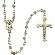 14kt Yellow Gold Filled Rosary 4mm March Blue beads Crucifix sz 1 1/8 x 5/8. Scapular medal charm