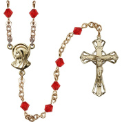14kt Yellow Gold Filled Rosary 5mm July Red Rundell-Shaped beads Crucifix sz 1 1/4 x 3/4. Madonna medal charm
