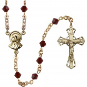 14kt Yellow Gold Filled Rosary 5mm January Red Rundell-Shaped beads Crucifix sz 1 1/4 x 3/4. Madonna medal charm