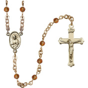 14kt Yellow Gold Filled Rosary 4mm November Yellow beads Crucifix sz 1 1/8 x 5/8. Scapular medal charm