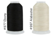 Super Threads King Tut #40/3 Ply Quilting Thread 2,000 per cone BUNDLE of 2 - Ebony & Alabaster