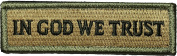 Tactical IN GOD WE TRUST Morale Hook and Loop Touch Fastener Tab Patch 2.5cm x 9.5cm - Multitan - By Ranger Return