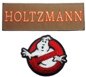 Ghostbusters No Ghosts & HOLTZMANN Tan Name Tag Embroidered Iron On Patch Set