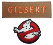 Ghostbusters No Ghosts & GILBERT Tan Name Tag Embroidered Iron On Patch Set