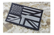 US/UK Union Flag Patch EMBROIDERED Morale Patch Hook Backing American flag