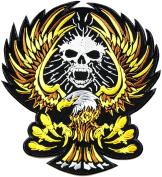 25cm Large Skull Skeleton Monster Eagle Hawk Outlaw MC Biker Punk Rock Heavy Metal Jacket T-shirt Patch Iron on Applique Embroidered Jacket T shirt Sign Costume