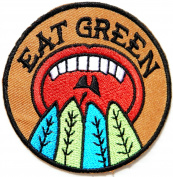 EAT GREEN Kid Baby Jacket T-shirt Patch Sew Iron on Embroidered Applique Sign Badge Costum Gift