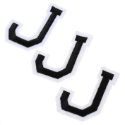 3PCS Letter J Embroidered Motif Applique Iron On Patch Sew Clothing DIY Accessories