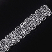 11mm Braided Gimp Silver Lace Trim Metallic Embellishment Applique Decorated Sewing Supplies for Garment Cloth 20yard