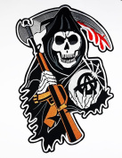 XXL BIG Grim Reaper Hour Skull Motorcycle patch symbol Biker jacket vest large Embroidered Iron on Hat Hoodie Backpack Ideal for Birthday Gift