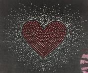 Heart Rhinestone Iron On Valentine's Day Transfer Iron On, Hotfix , Heat Press MOTIF applique DIY crystal Heart Love