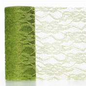 Floral Shimmer Lace Glitter Tulle Fabric Roll-Tea Green- 15cm X10 Yards