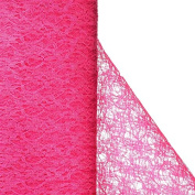 Floral Shimmer Lace Glitter Tulle Fabric Roll-Fushia- 140cm X15 Yards