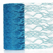Floral Shimmer Lace Glitter Tulle Fabric Roll-Turquoise- 15cm X10 Yards