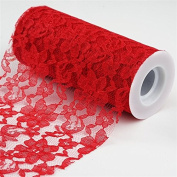 Festive Floral Lace Fabric Roll, Colour- Red- 15cm X10 Yards