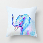 Lovely Elephant Pillows Decorative Canvas Throw Pillow Covers 18 x 18 Sqaure Cushion Covers for Bed